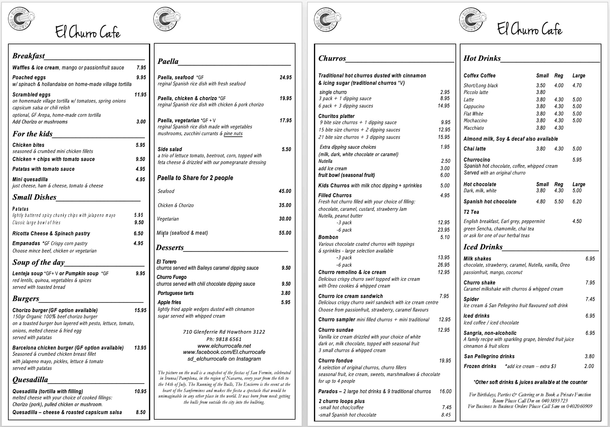 spanish doughnuts menu, menu for spanish doughnuts, flinders street