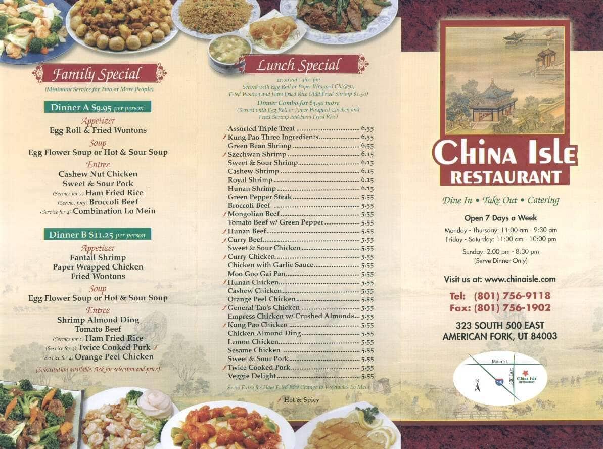 China Isle American Fork Menu