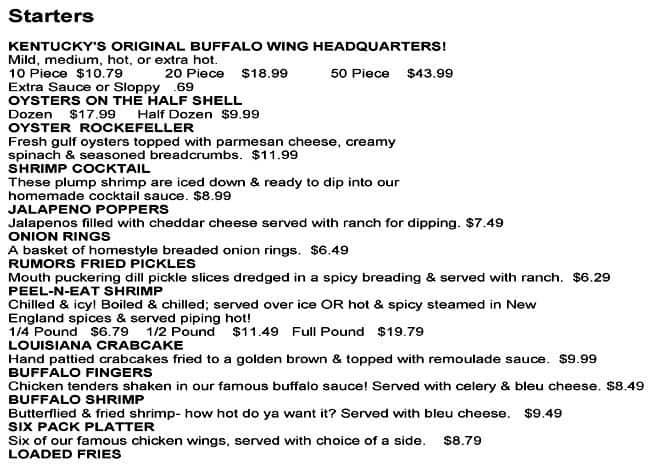 Rumors Bar And Grill >> Rumors Menu Menu For Rumors Middletown Louisville Urbanspoon Zomato