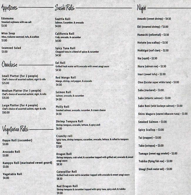 garden sushi seattle menu menu for garden sushi seattle. Black Bedroom Furniture Sets. Home Design Ideas