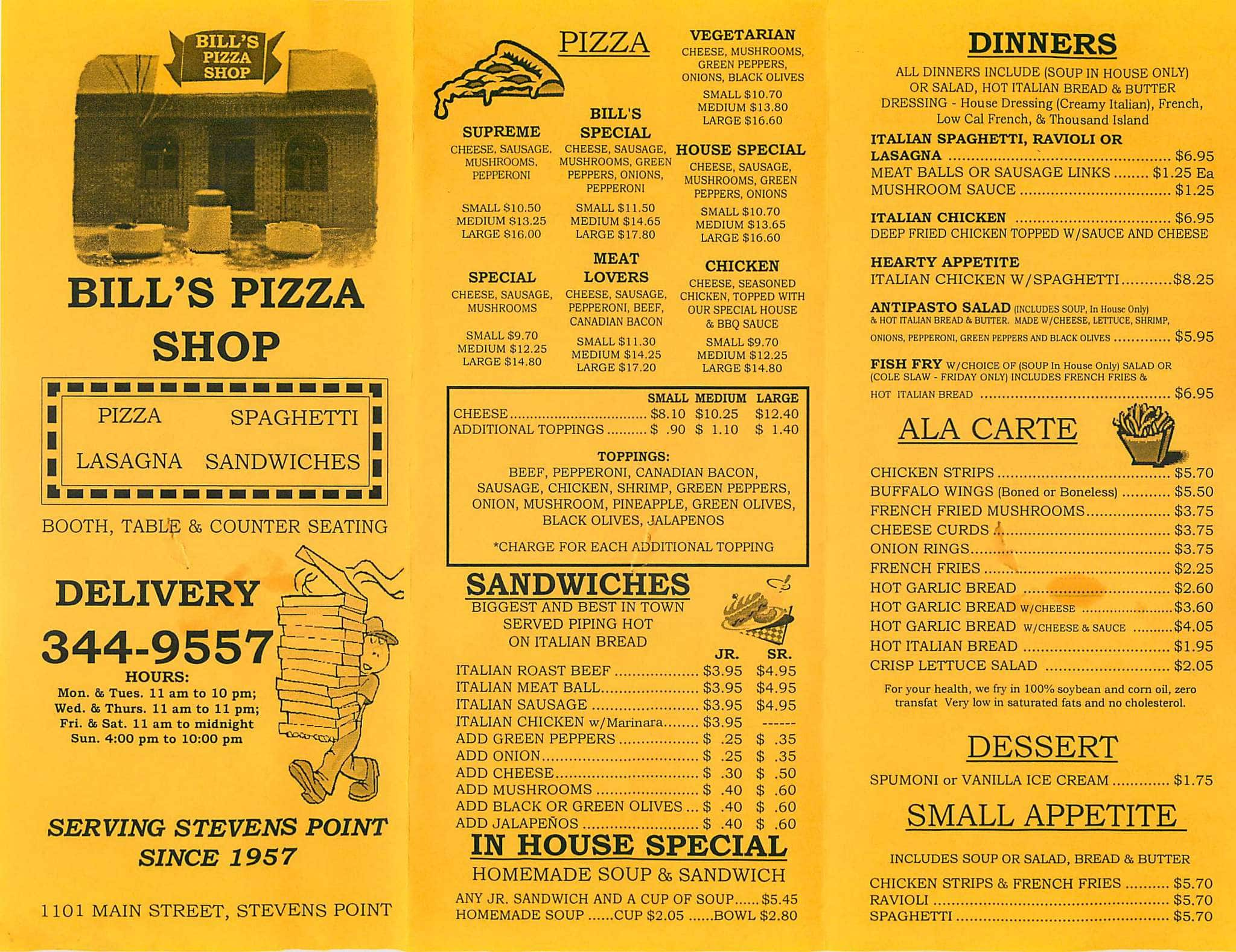 Billu0027s Pizza Shop, Stevens Point Menu