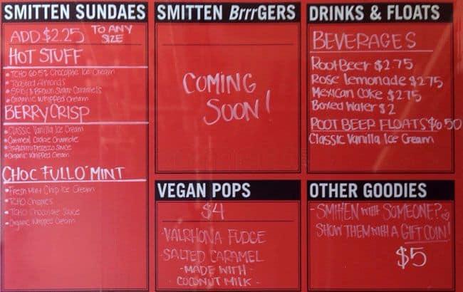 Smitten Ice Cream Menu menu at smitten ice cream, 4800 el camino real - restaurant prices