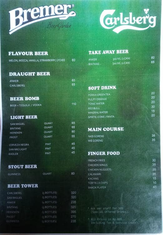 Bremer Beer Garden Menu Menu Untuk Bremer Beer Garden Kemang Jakarta