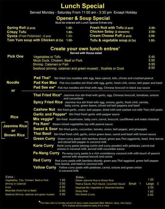 koon thai kitchen menu, menu for koon thai kitchen, kearny mesa