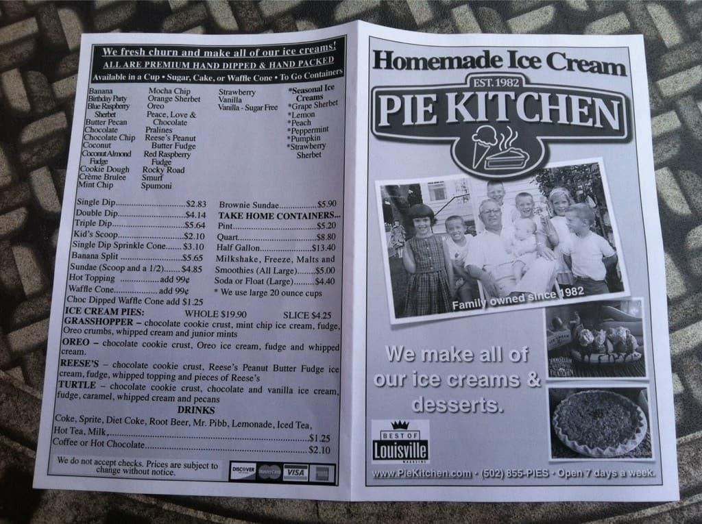 homemade ice cream pie kitchen prospect menu - Homemade Pie Kitchen
