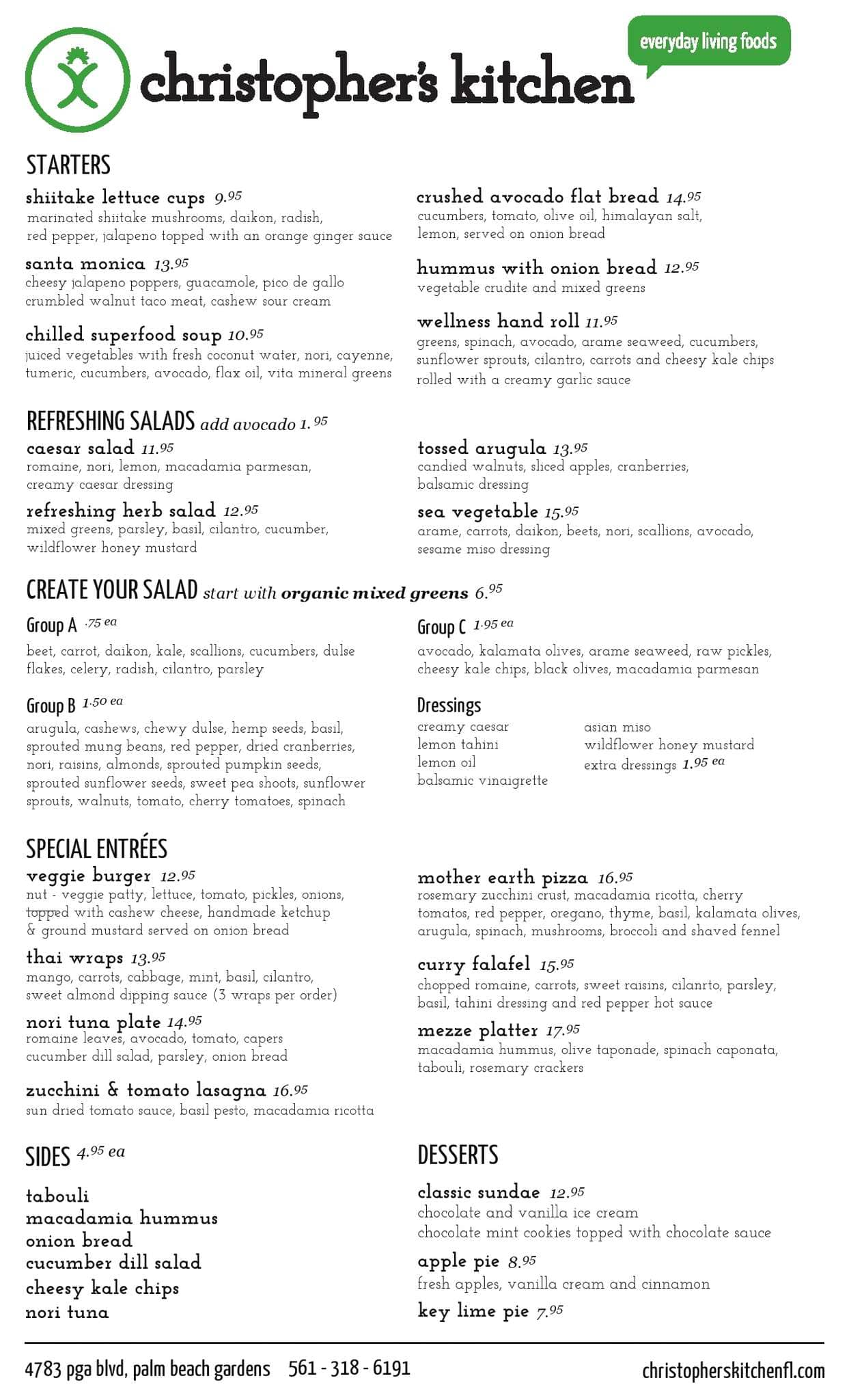 christopher 39 s kitchen menu urbanspoon zomato