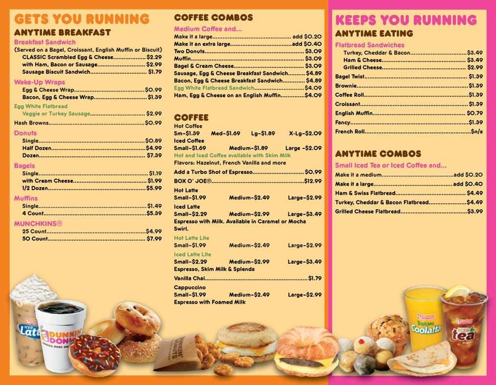 Dunkin Donuts Fast Food Menu Prices