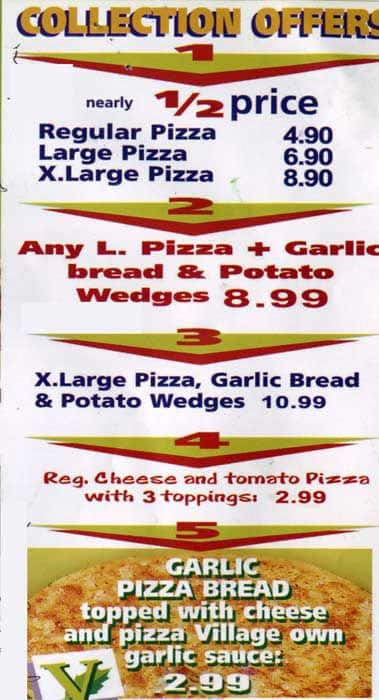 Menu At Pizza Village Fast Food Wembley 785 Harrow Rd