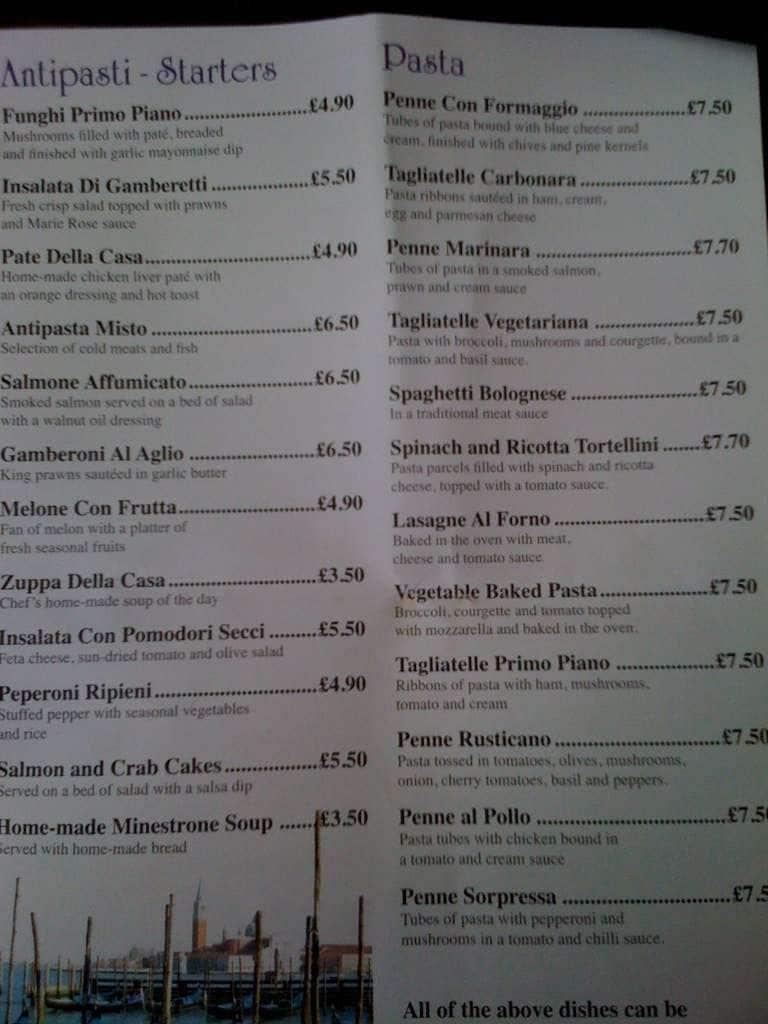 Napoli Restaurant Leek Menu