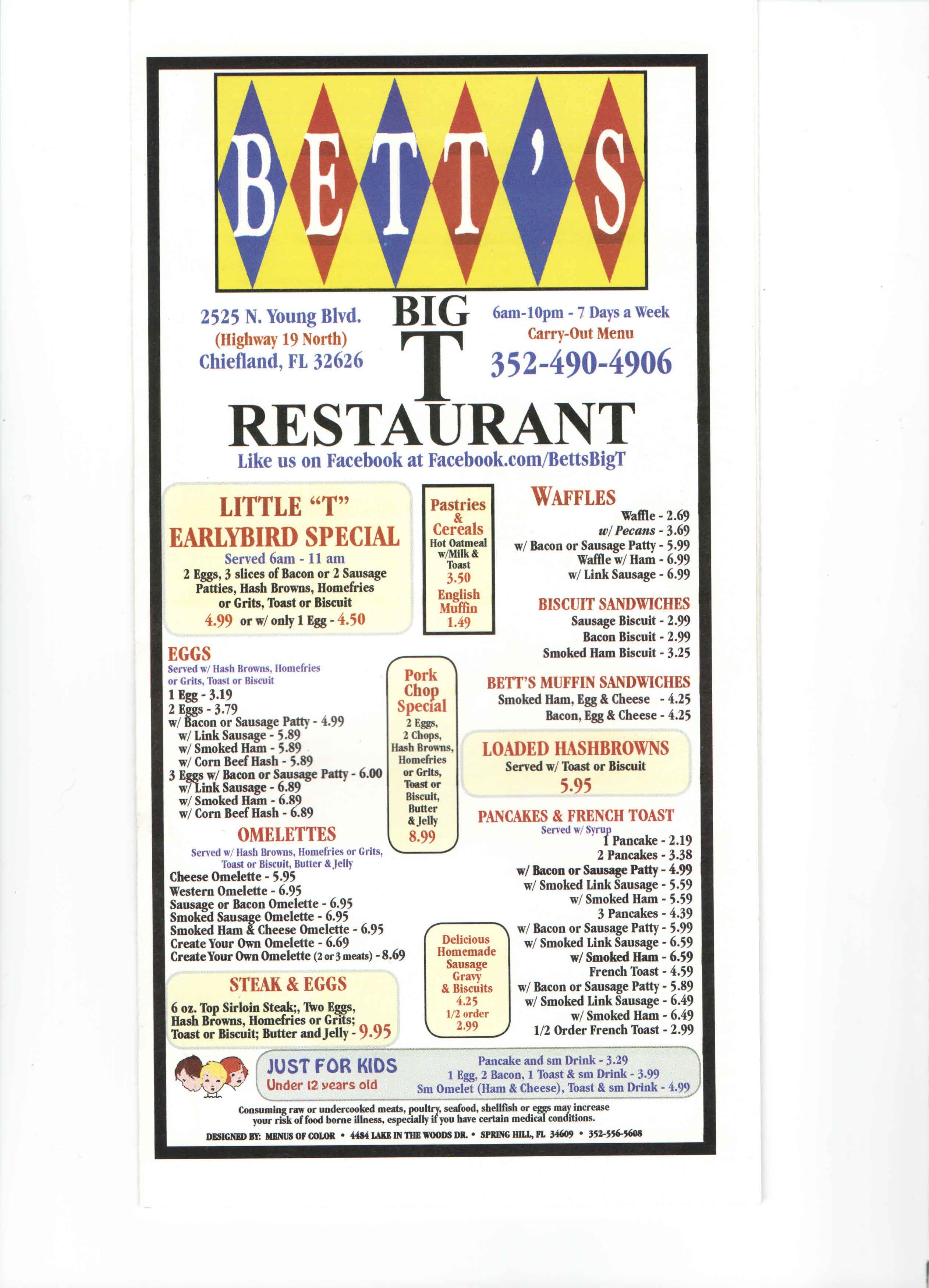 Bett S T Restaurant Chiefland Menu