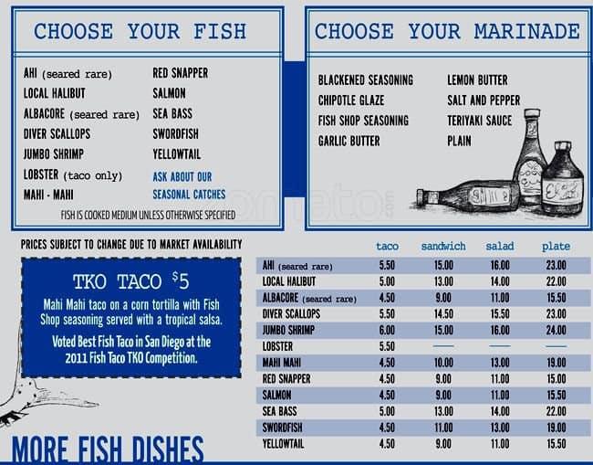 Pacific beach fish shop menu menu for pacific beach fish for Two fish menu
