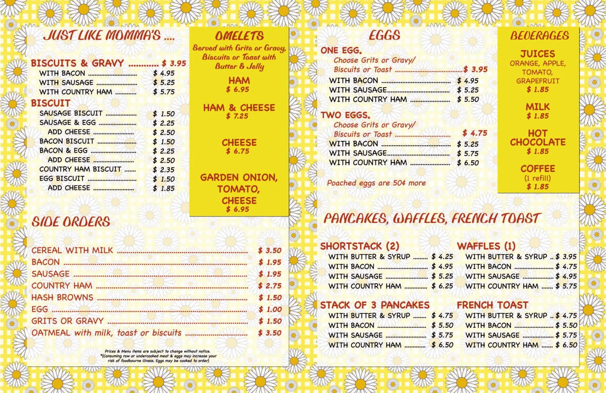 Sunset Restaurant Franklin Menu