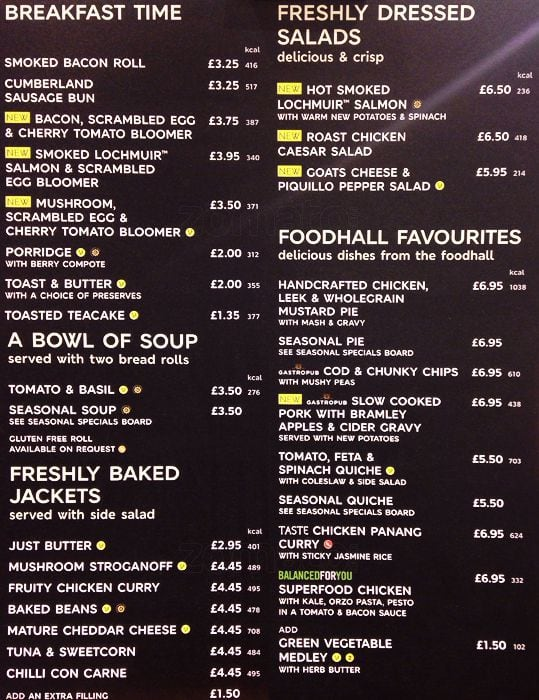 Marks And Spencer Cafe Menu Prices