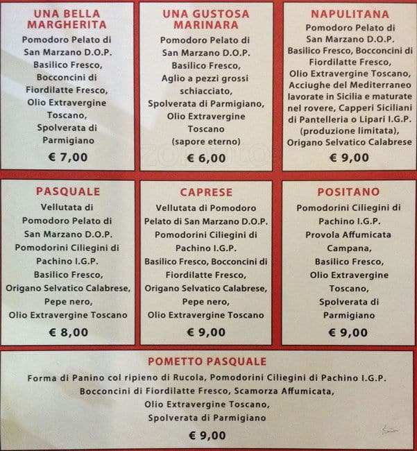 Pizza am a milano foto del menu con prezzi zomato italia - Pizzeria milano porta romana ...