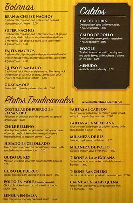 Cuquitas Restaurant Menu