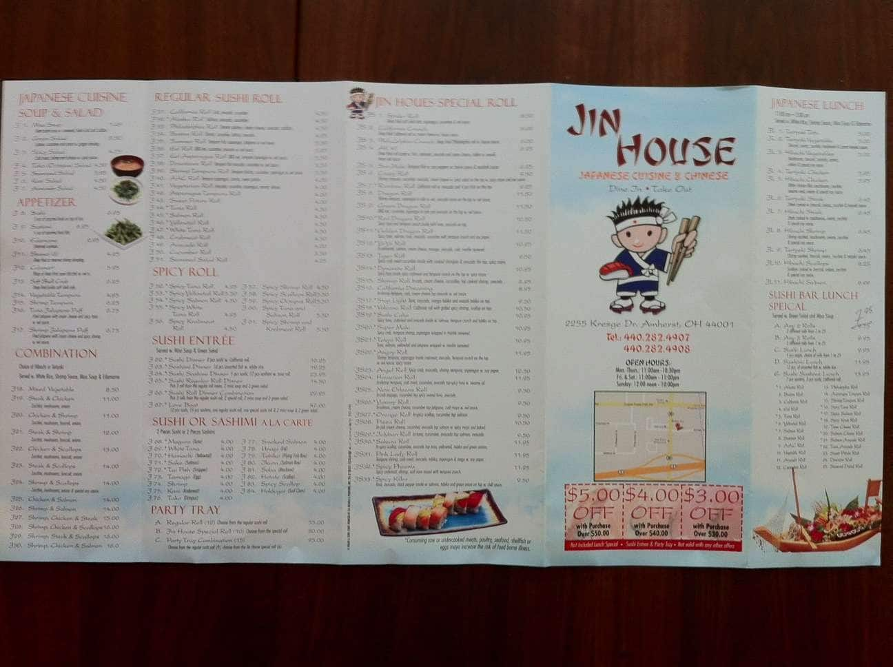 Jin House Menu Menu For Jin House Amherst Cleveland