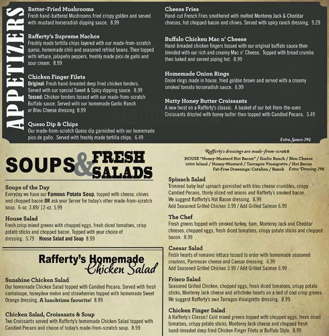 Raffertys Restaurant Bar Menu Urbanspoonzomato
