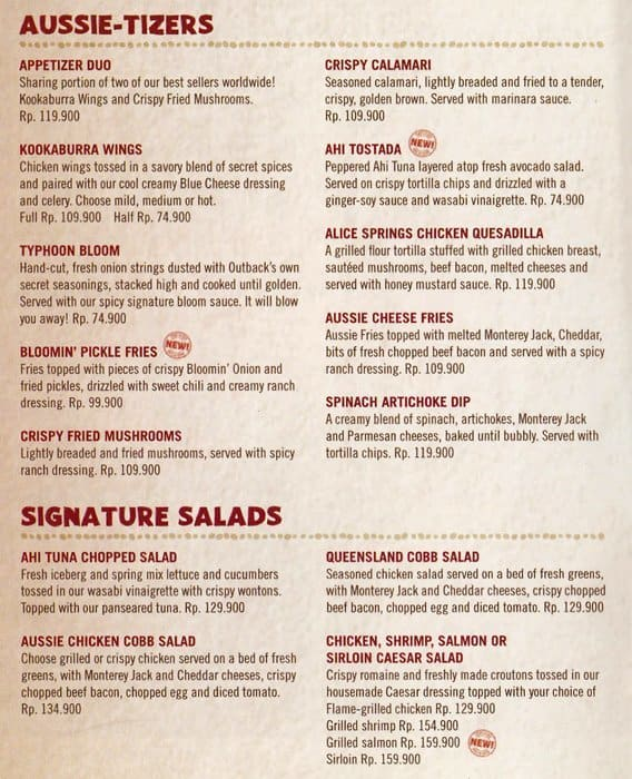 photo relating to Outback Steakhouse Printable Menu called Outback steakhouse printable menu with rates : Orvis outlet