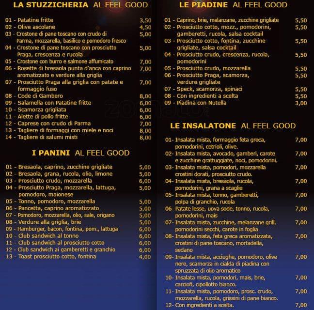 Feel Good Menu, Menu for Feel Good, Porta Vittoria, Milano - Zomato ...
