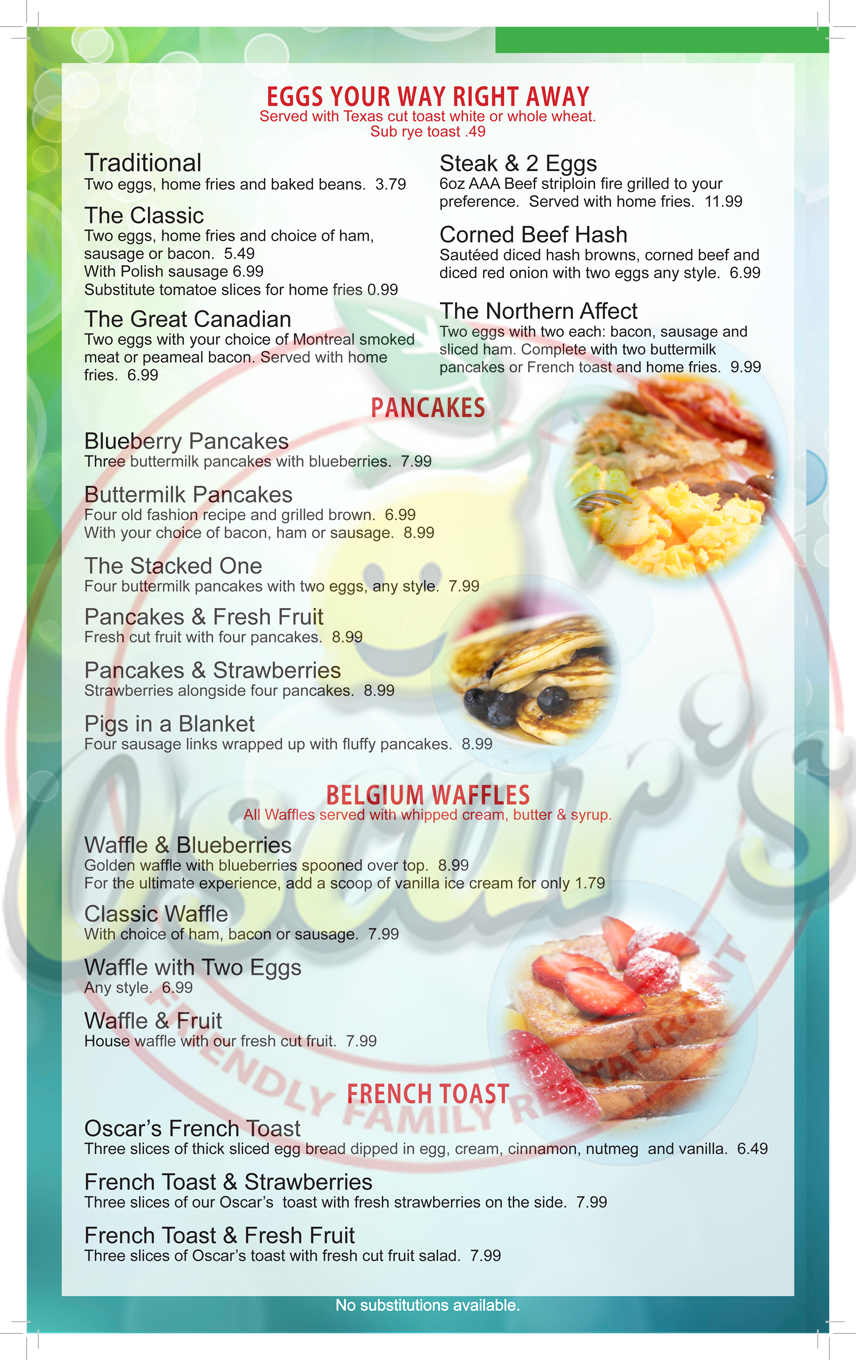 Menu at Oscar\'s restaurant, Kitchener