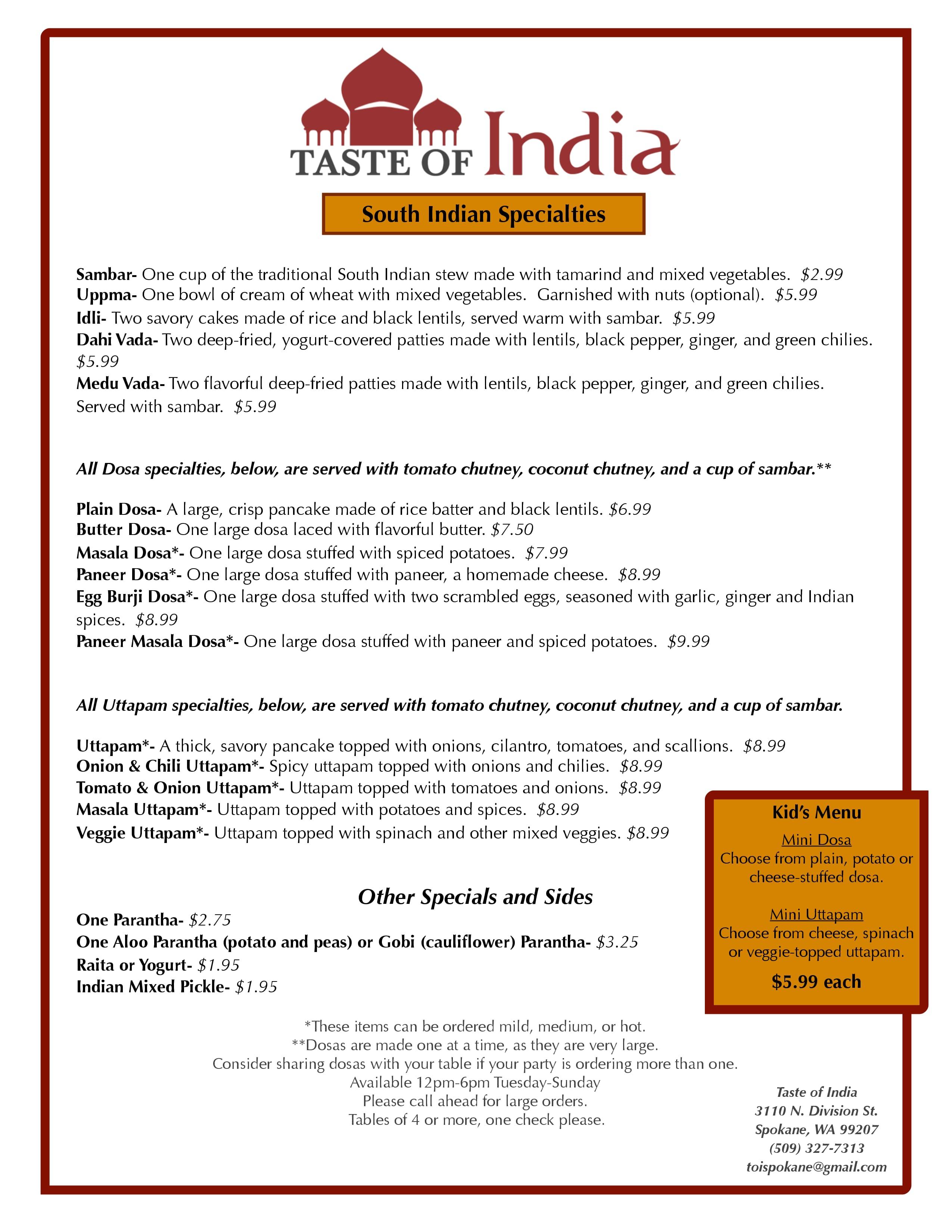Taste of India Menu, Menu for Taste of India, Spokane, Spokane ...