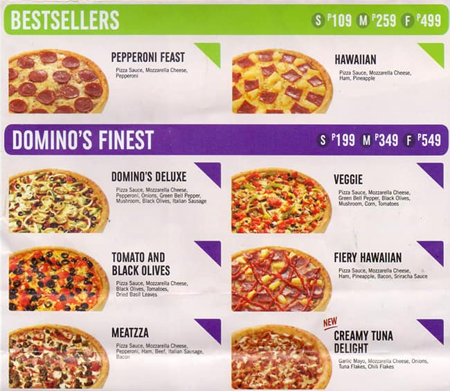Domino S Pizza Menu Menu For Domino S Pizza Poblacion Makati City