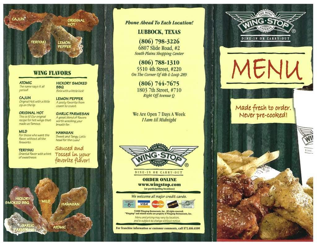 photograph regarding Wingstop Printable Menu known as Wingstop cafe - Sleeping bag with pillow