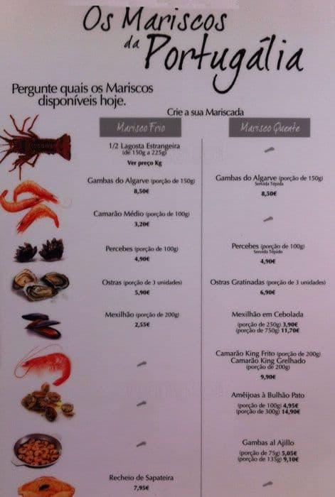 Portugalia Restaurant Menu