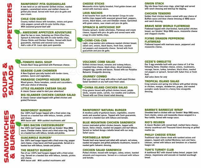 Rainforest Cafe Menu In San Antonio Tx