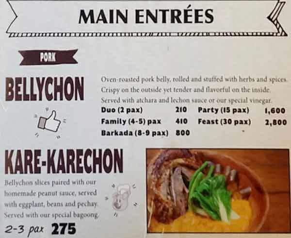 Belly Good Boneless Lechon, Maybunga Menu