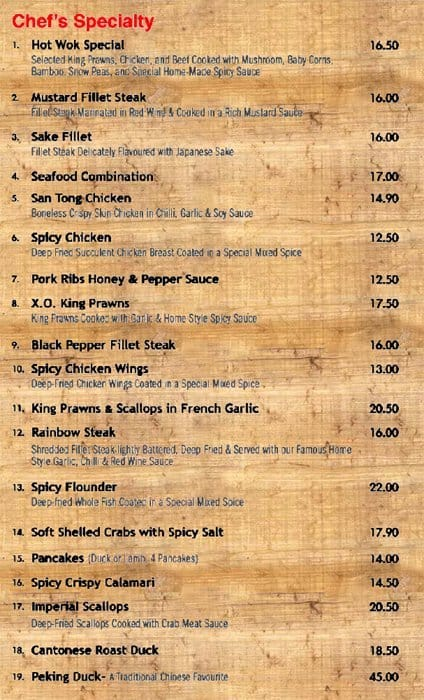 Menu at Jenny\'s Asian Kitchen restaurant, Chester Hill