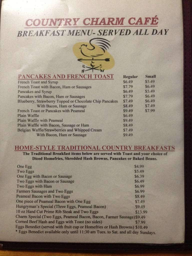 country charm cafe menu menu for country charm cafe st