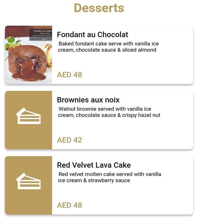 منيو مطعم انتروكوت كافية دو باريس أبوظبي