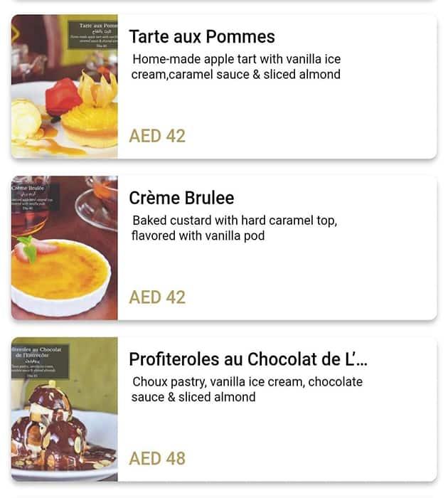 منيو مطعم انتروكوت كافية دو باريس بأبوظبي