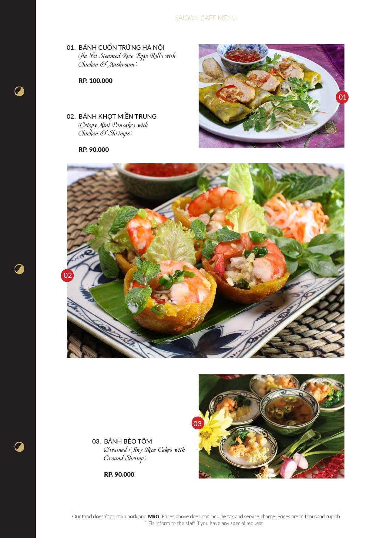 Saigon Cafe Menu Jakarta