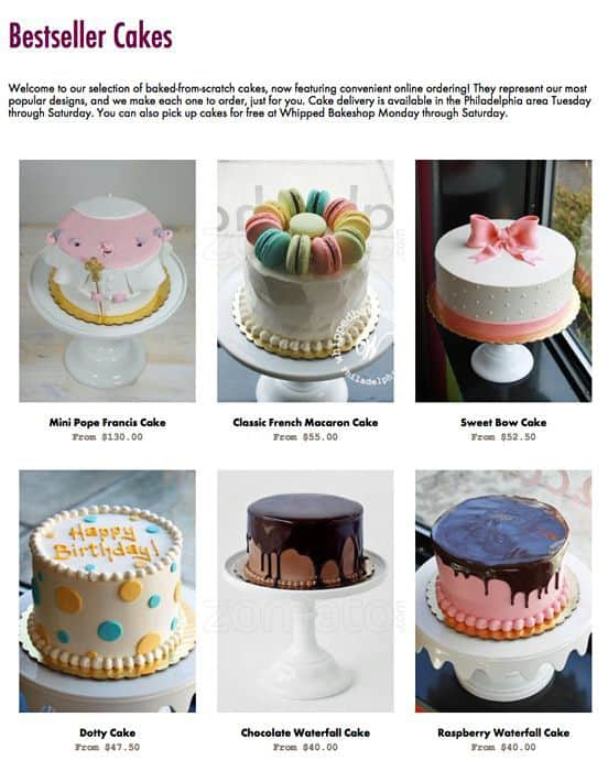 Whipped Bake Shop Menu