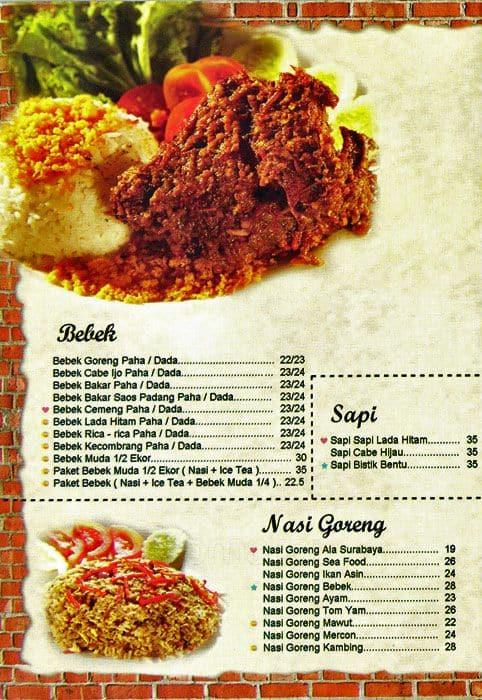 Bebek bentu menu menu for bebek bentu jatiasih bekasi for 328 chinese cuisine menu