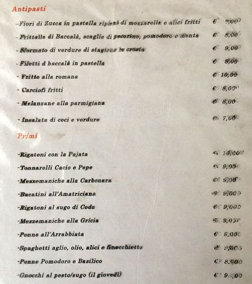 Cucina pepe a roma foto del menu con prezzi zomato italia for Menu cucina romana
