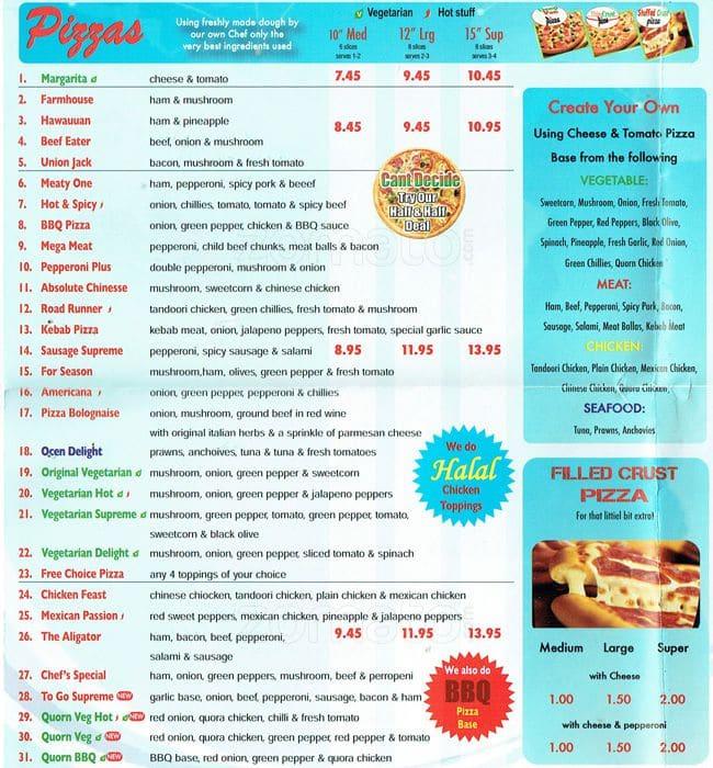 Pizza 2 Go Menu Menu For Pizza 2 Go Borough London