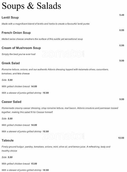 Adonis mediterranean restaurant menu urbanspoon zomato for Mediterranean restaurant menu