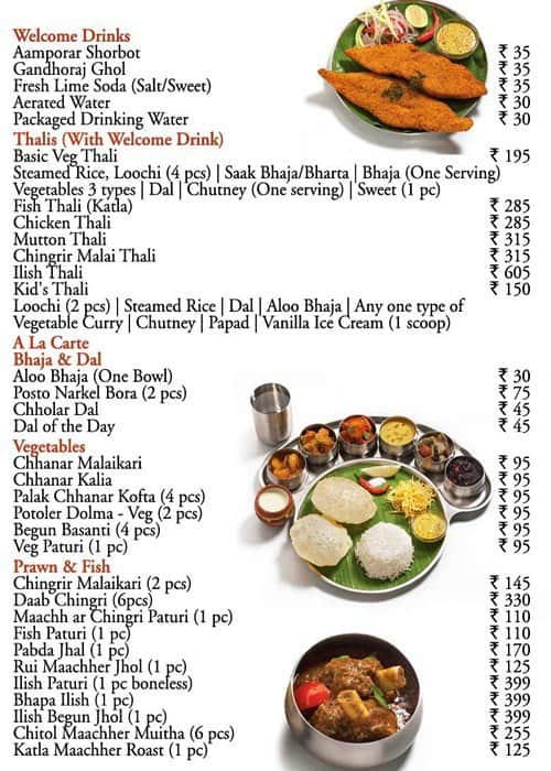 6 Ballygunge Place Thali Menu Menu For 6 Ballygunge Place