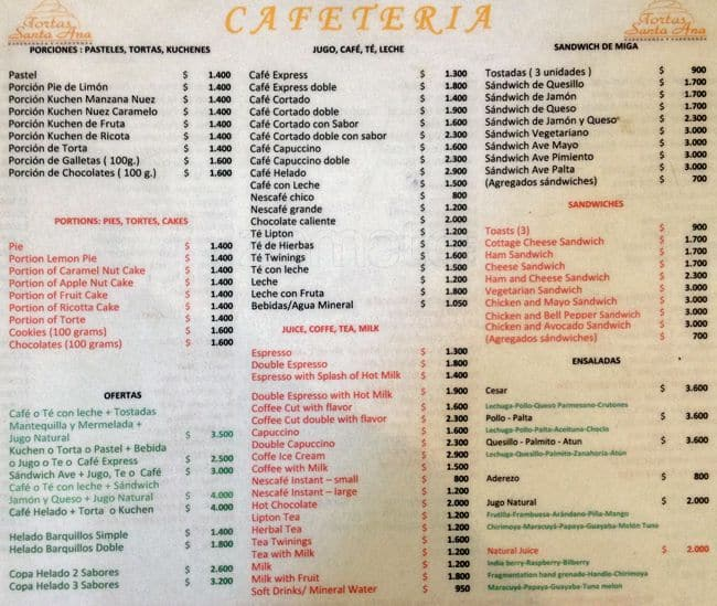 Santa Ana Cafe Menu