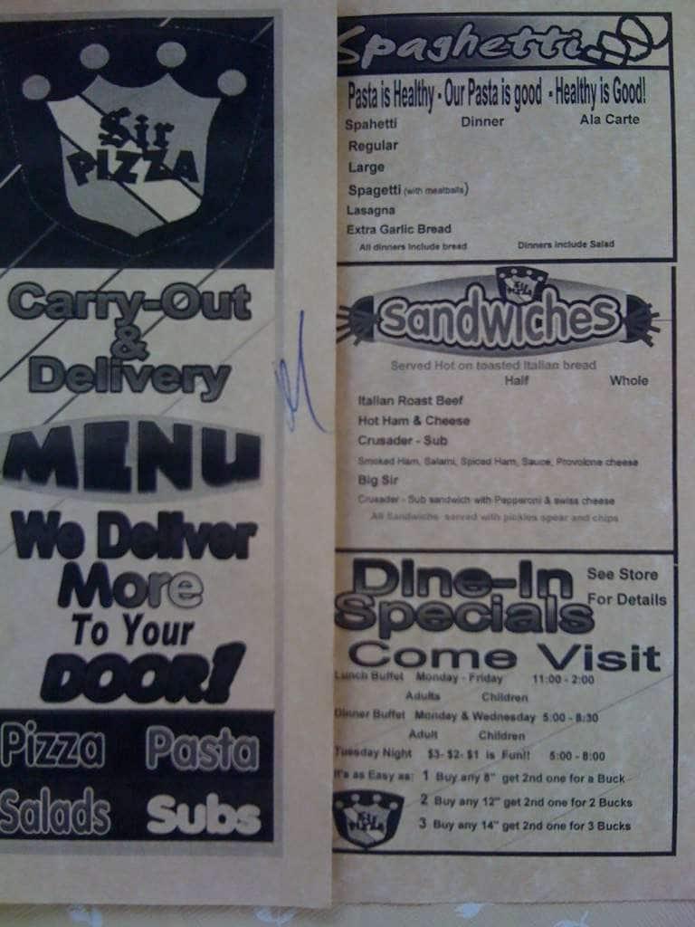 Sir Pizza Murfreesboro Menu