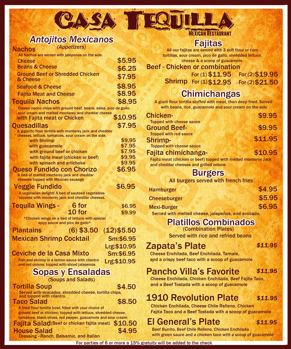 Prices For Casa Tequila Food On Menu