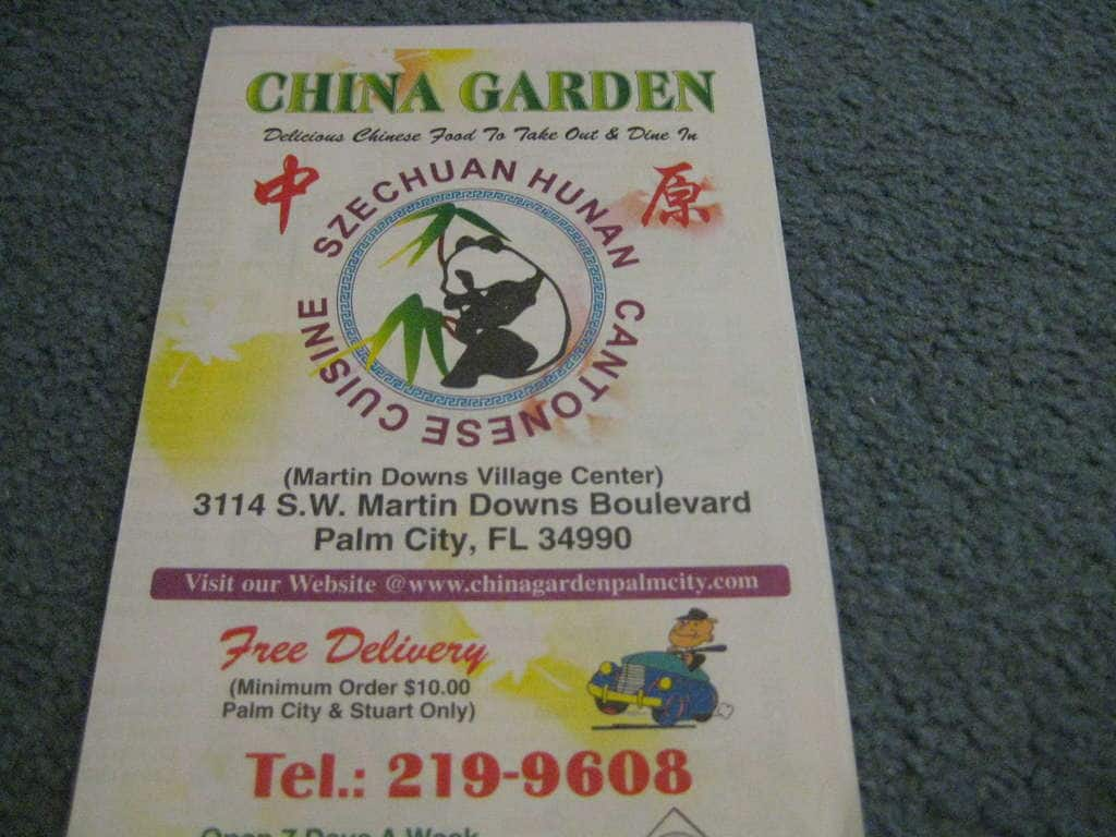 Scanned Menu For China Garden