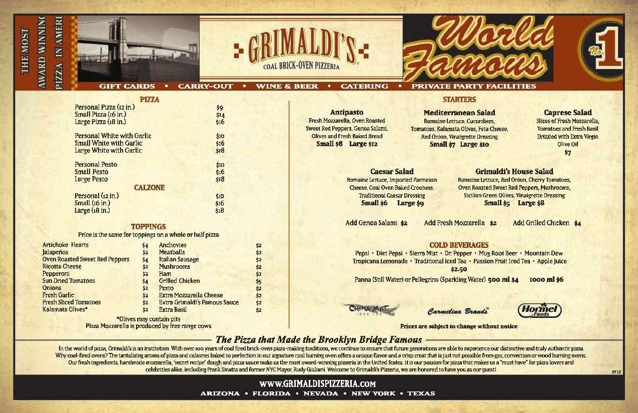 Grimaldi 39 s pizzeria menu menu for grimaldi 39 s pizzeria west palm beach miami urbanspoon zomato for Grimaldi s pizza palm beach gardens