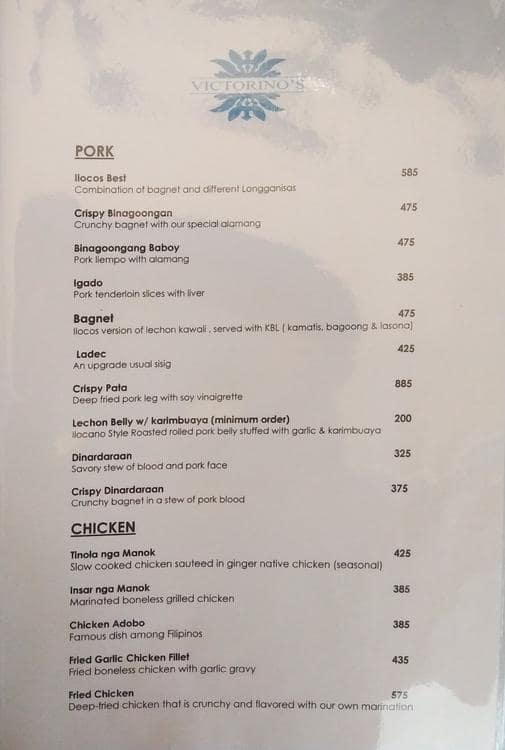 Victorino's Menu, Menu for Victorino's, Tomas Morato, Quezon