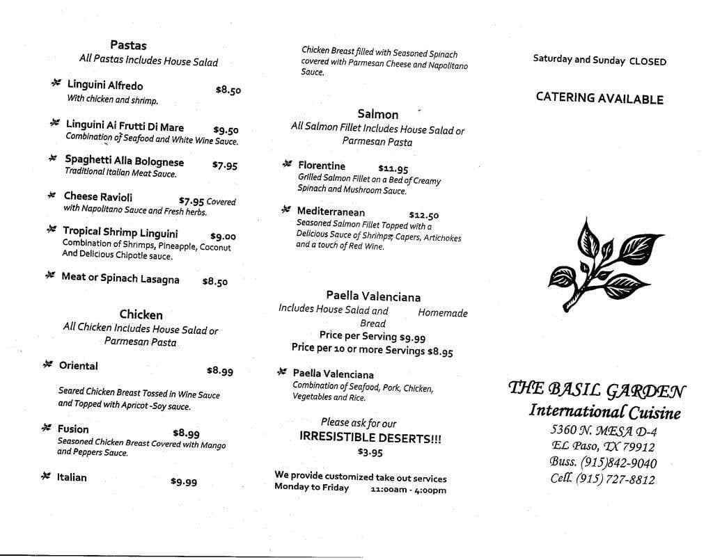 basil garden westside menu - The Garden El Paso