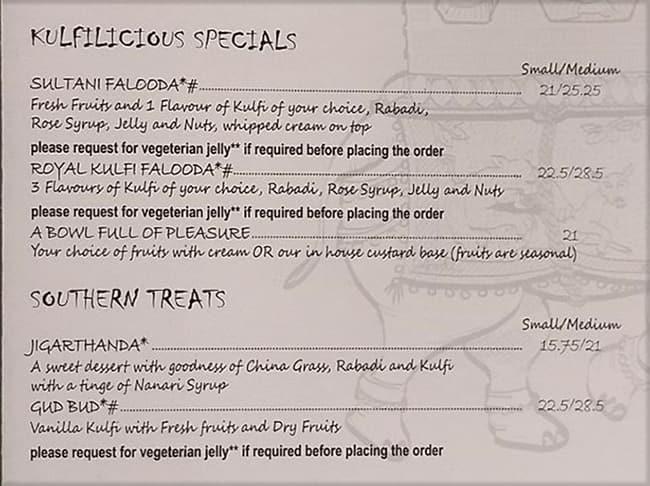 منيو مطعم Kulfilicious دبي