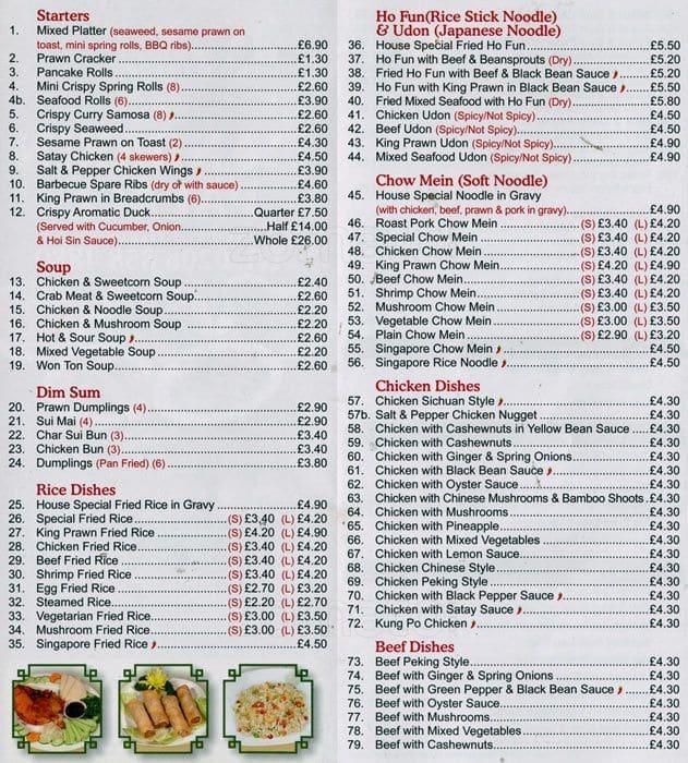 Mandarin palace menu